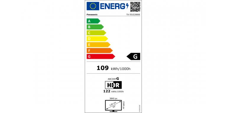 indice de consommation énergétique Panasonic tx-55jz2000e