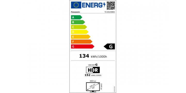 consommation énergétique Panasonic tx-65jz980e