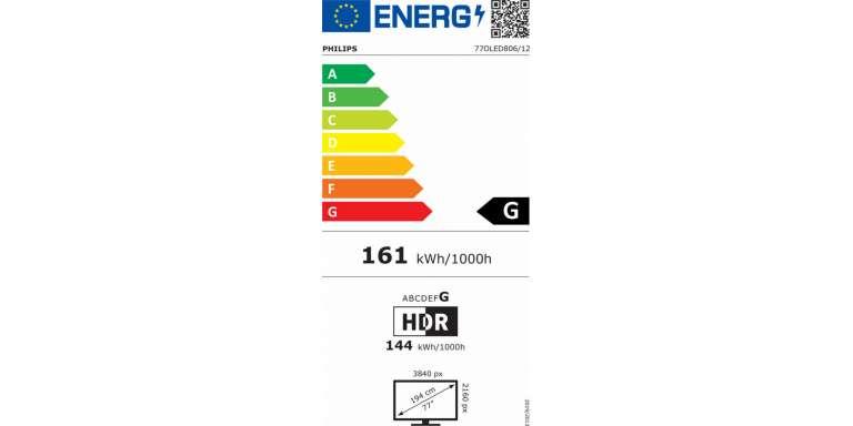 consommation énergétique Philips 77OLED806/12