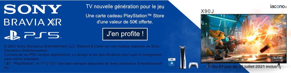 Du 01 juin au 31 juillet 2021 inclus. Pour tout achat d'un écran Sony parmi une sélection de références ci-dessous, Sony vous offre une carte cadeau PlayStation Store d'une valeur de 50 euros